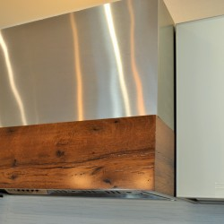 range hood, stainless steel, modern, contemporary, glass, Bendheim, reclaimed wood, recycled wood, oak, surface materials, old, new